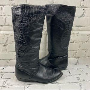 Vintage black leather fleece lined boots